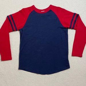 Hanna Andersson Boys Red Blue Baseball Tee 150 12